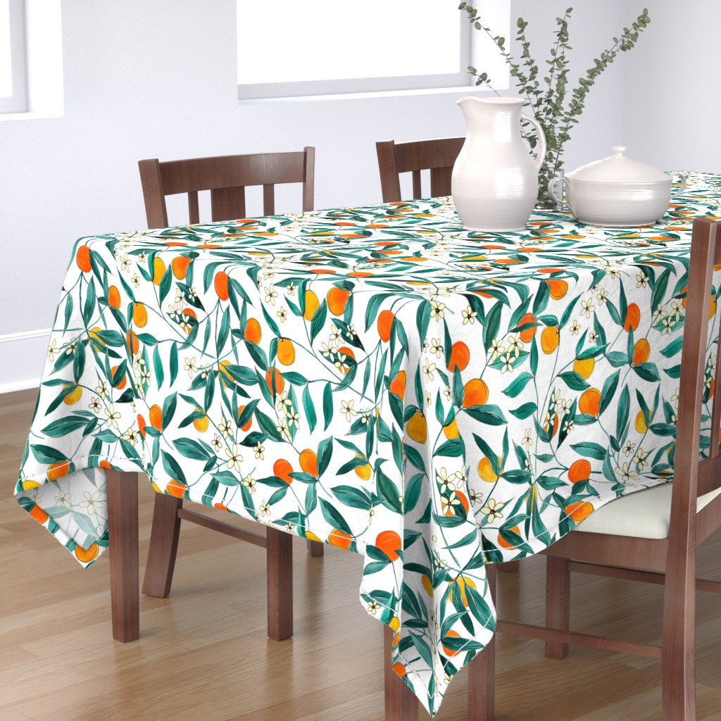 Bantam Rectangular Tablecloth featuring Orange Summer by joy&ink