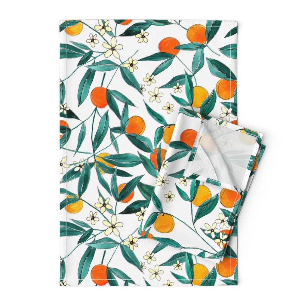 Orpington Tea Towels featuring Orange Summer by joy&ink