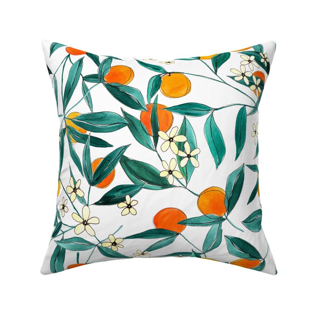 Catalan Throw Pillow featuring Orange Summer by joy&ink