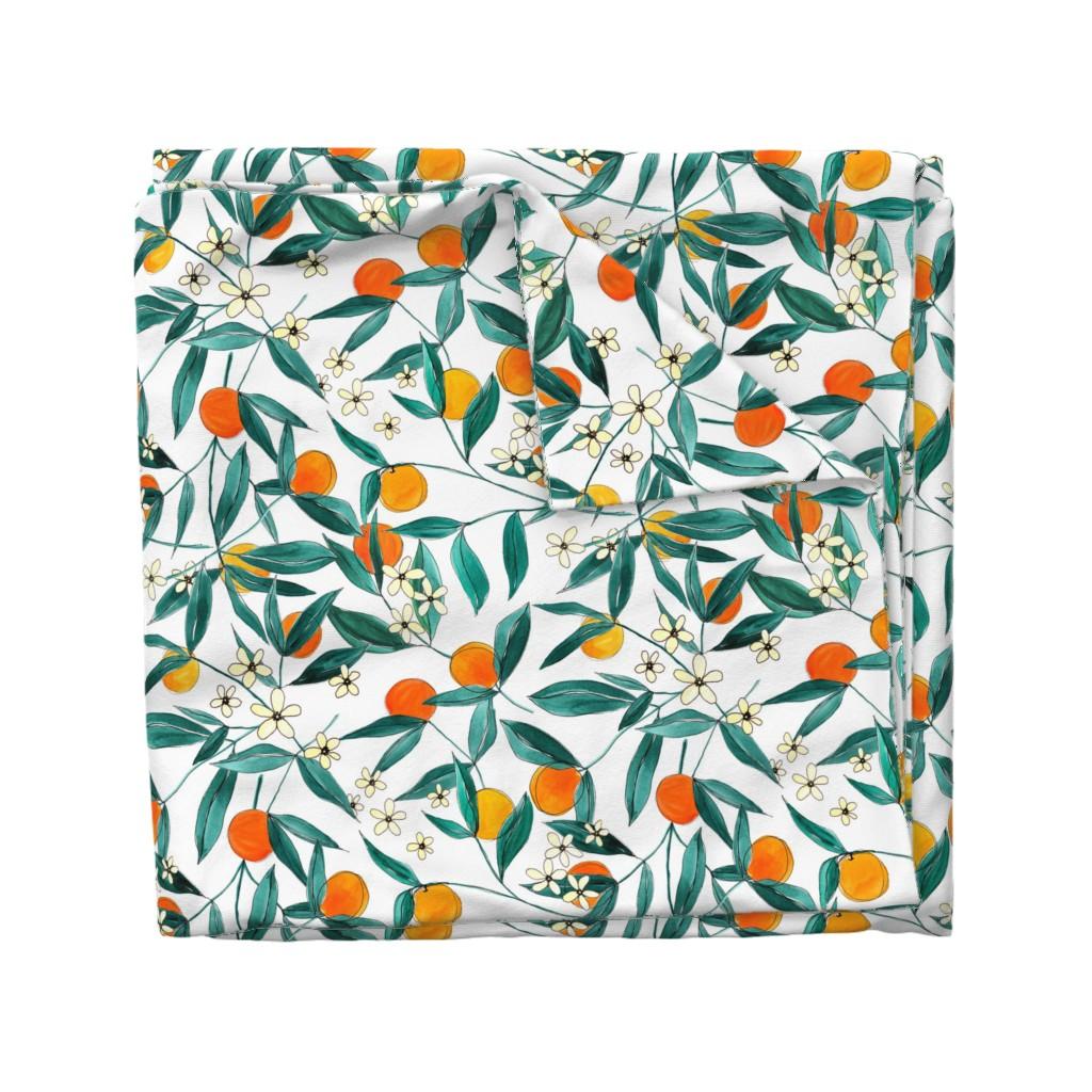 Wyandotte Duvet Cover featuring Orange Summer by joy&ink