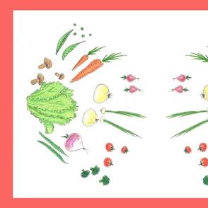 Fresh Veggies tea towel red border