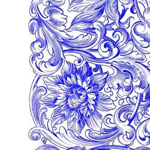 Rococo Border Print ~ White on Sevilla Blue and White