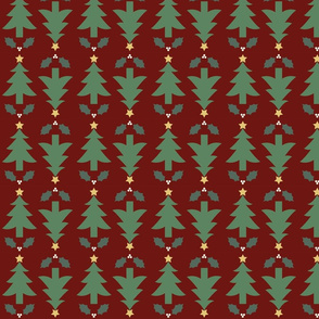 Rustic Christmas Trees and Holly