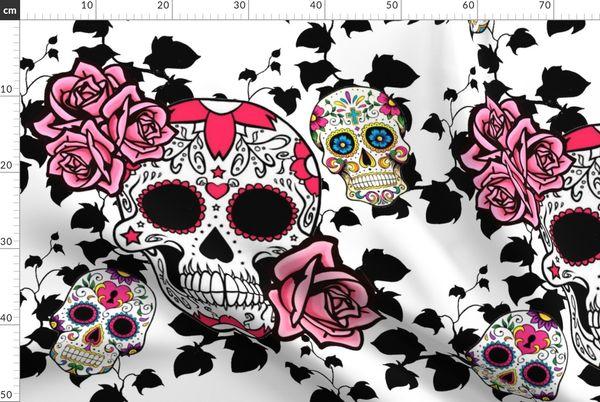 Fabric By The Yard Sugar Skulls Black Vines Pink Roses