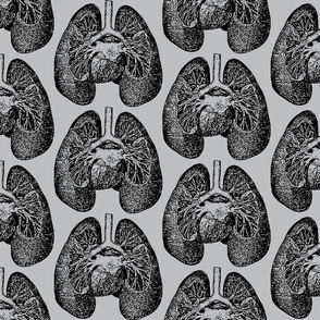 Anatomical Lungs Black on Grey