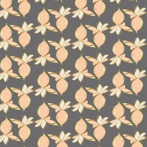 Tropical berry Coral peach blush pink || leaf leaves gray grey yellow gold_Miss Chiff Designs