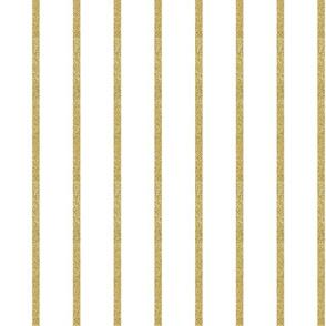 """1"""" Gold Glitter Stripe on White"""