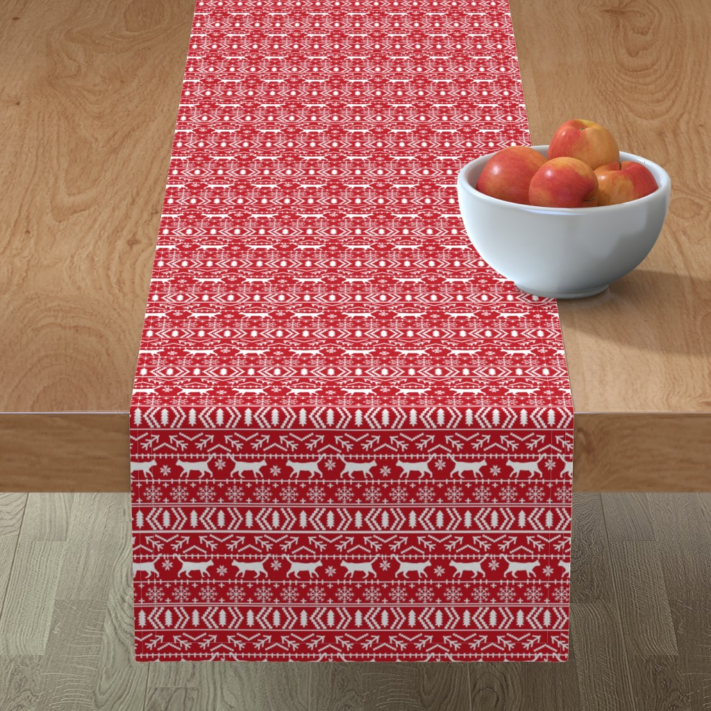 Minorca Table Runner featuring christmas cat fair isle fabric red christmas fabric sweater fabric cute sweater fabrics christmas reds xmas holiday design by petfriendly