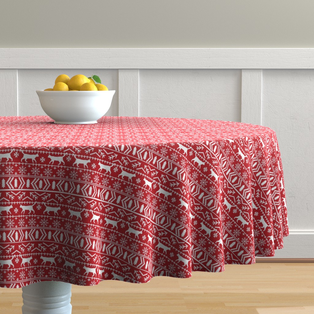 Malay Round Tablecloth featuring christmas cat fair isle fabric red christmas fabric sweater fabric cute sweater fabrics christmas reds xmas holiday design by petfriendly