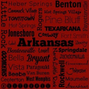 Cities of Arkansas, red