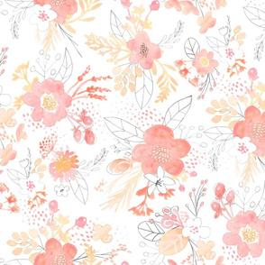 Watercolor Peach Bouquet LARGE horizontal