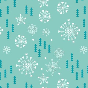 Pine trees and snow flakes winter wonderland and christmas holidays theme mint