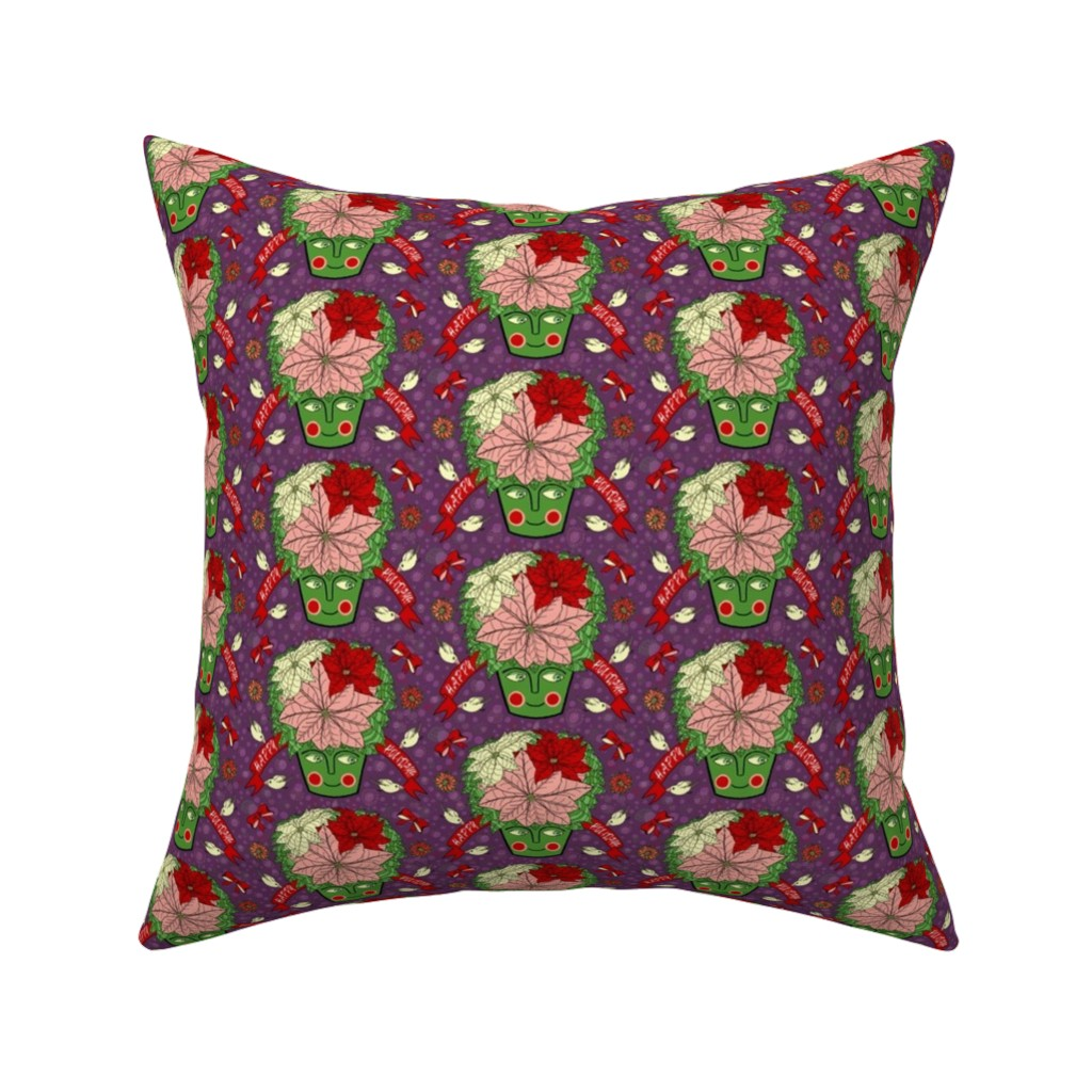 Catalan Throw Pillow featuring Christmas holiday poinsettias, small scale, violet purple cream pink green red by amy_g