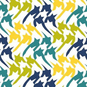 yellow, wasabi, navy & teal houndstooth twist