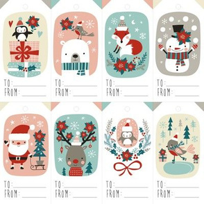 christmas gift tags with cute woodland animals, santa claus, snowman and poinsettia