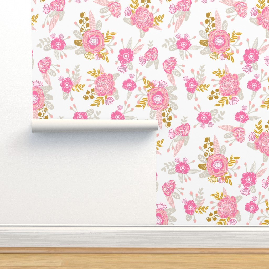 Fox Florals Cute Floral Pink And On Isobar By Charlottewinter