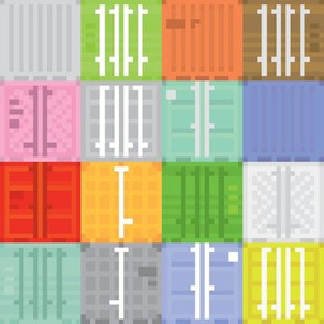 Pixel art shipping containers