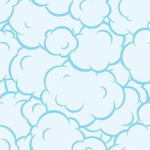 Pop art speech bubble blue clouds