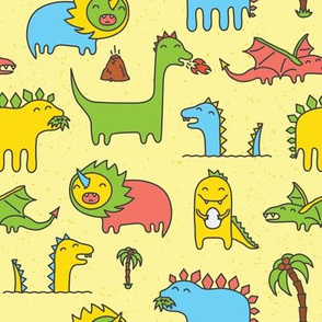 Cute kawaii dinosaurs