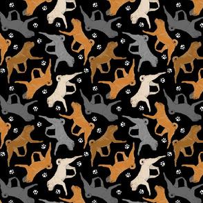 Trotting Chinese Shar pei and paw prints - black