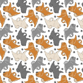 Trotting Chow Chow and paw prints - white