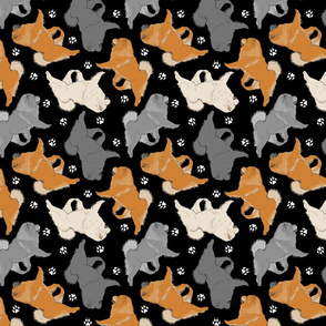 Trotting Chow Chow and paw prints - black