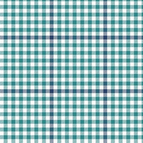 tartan check - teal and navy