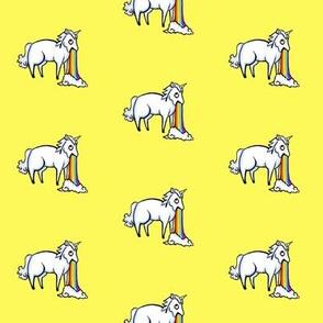 Large Unicorn and Rainbow on Lemon Yellow