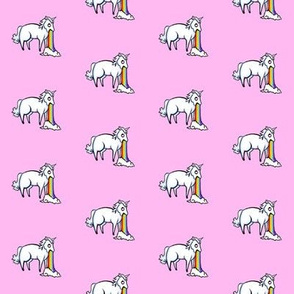 Small Unicorn and Rainbow on Pale Pink