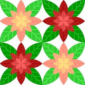 05869299 : geometric poinsettia 4 : red + pink
