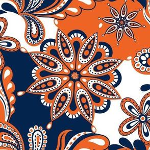 Navy and orange team color  Paisley Mandala