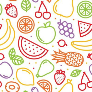 Graphic outline fruits white