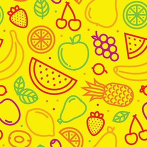Graphic outline fruits yellow