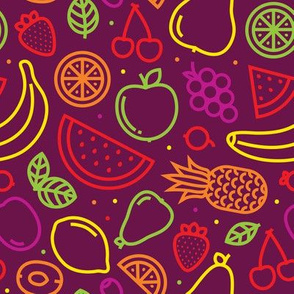Graphic outline fruits purple