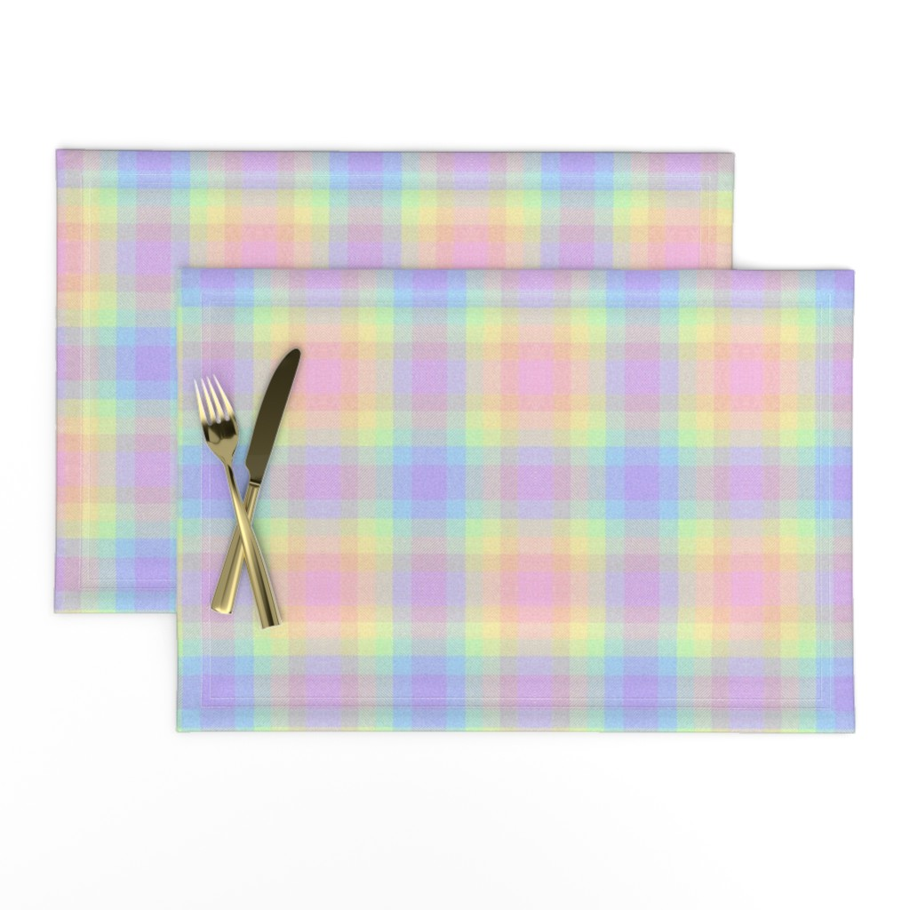 Lamona Cloth Placemats featuring Pastel Gay Pride Plaid by aspie_giraffe