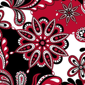 Red and black team color paisley mandala