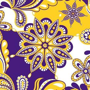 Purple and yellow team color Paisley mandala