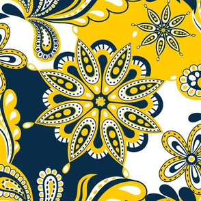 Yellow and blue team color Paisley Mandala