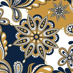 Blue and gold Team color Paisley Mandala