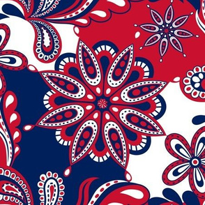 Red and blue team color Paisley Mandala
