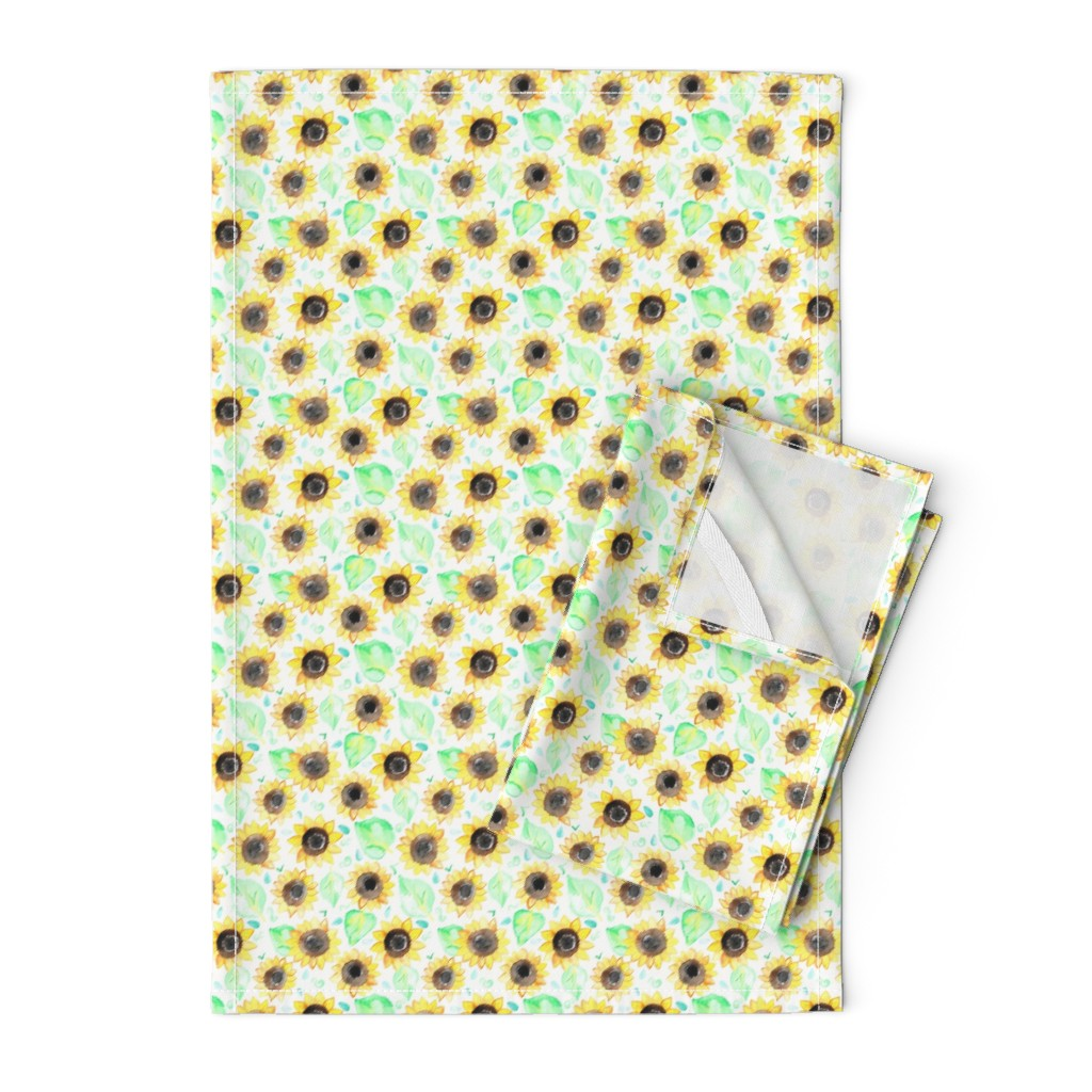 Orpington Tea Towels featuring Cheerful Watercolor Sunflowers by tangerine-tane