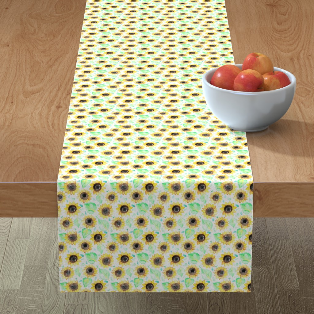 Minorca Table Runner featuring Cheerful Watercolor Sunflowers by tangerine-tane