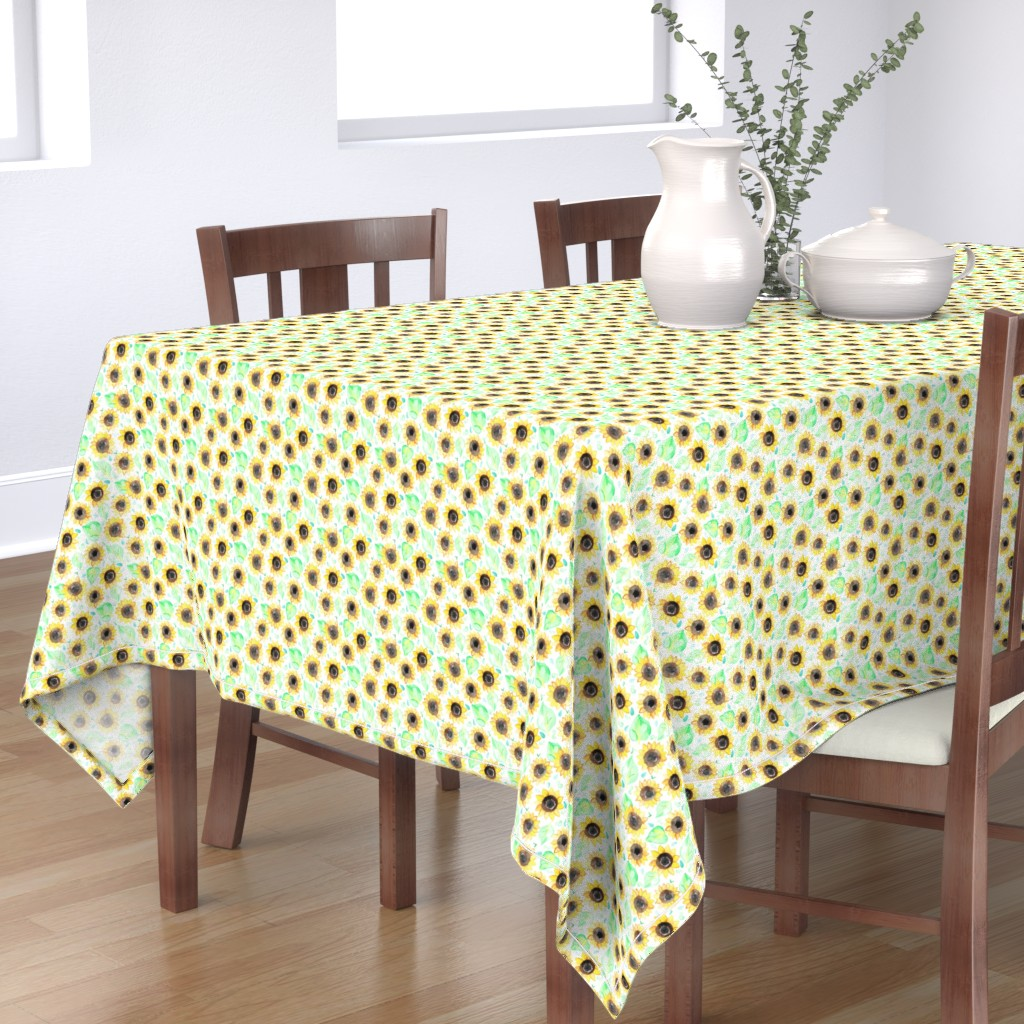 Bantam Rectangular Tablecloth featuring Cheerful Watercolor Sunflowers by tangerine-tane