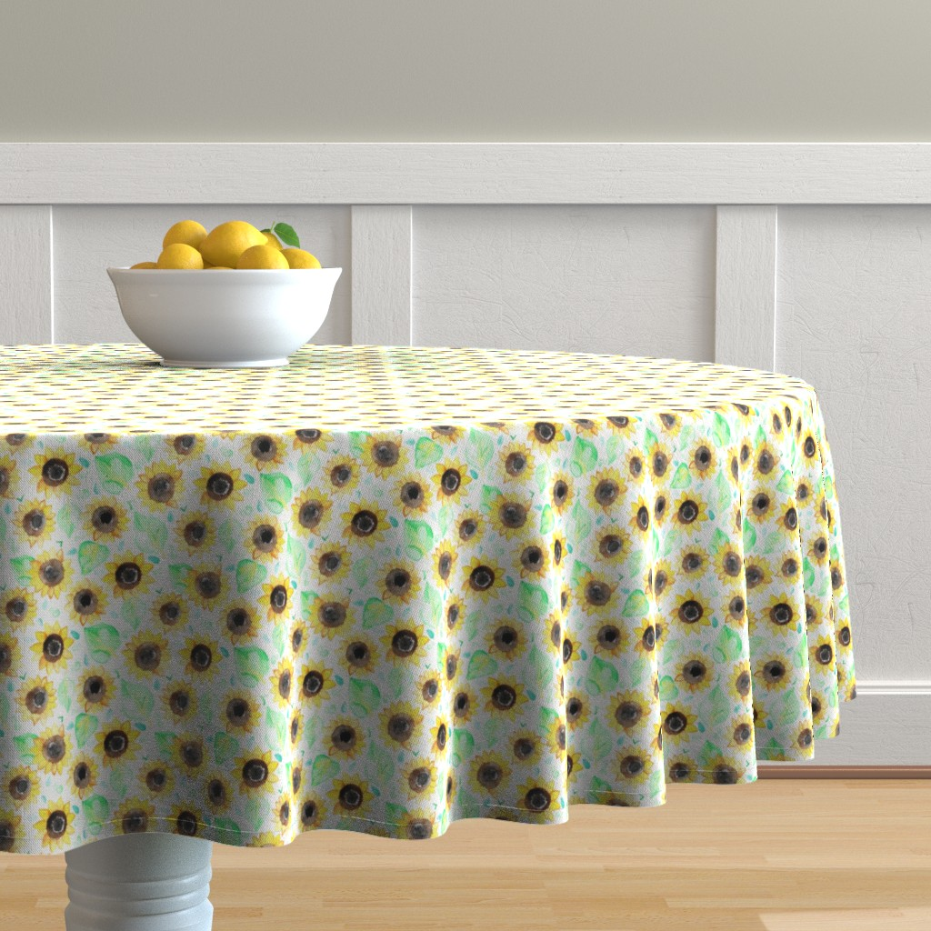 Malay Round Tablecloth featuring Cheerful Watercolor Sunflowers by tangerine-tane