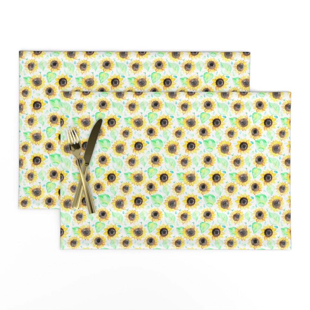 Lamona Cloth Placemats featuring Cheerful Watercolor Sunflowers by tangerine-tane