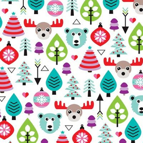 Colorful christmas trees and winter woodland animals kids