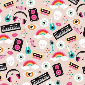 Musical instruments cool kawaii colorful hipster teen print guitar rainbow music