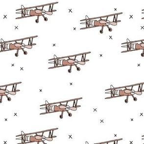 Cool airplane vintage plane illustration kids toy gender neutral beige