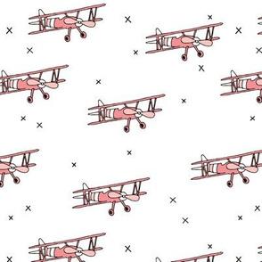 Cool airplane vintage plane illustration kids toy girls pink
