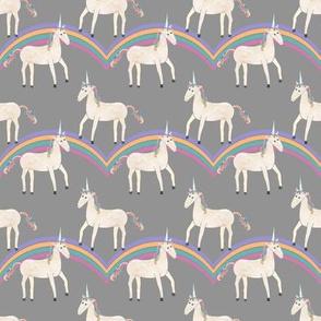 Unicorns & Rainbows on Grey